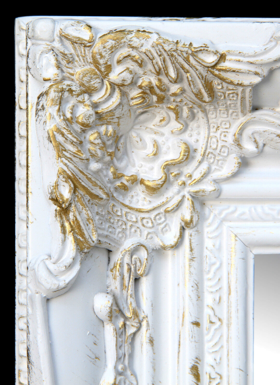 wall mirror rectangular white gold floor baroque antique repro shabby ebay. Black Bedroom Furniture Sets. Home Design Ideas