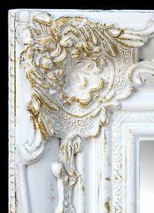Wandspiegel-Rechteckig-weiss-gold-Badspiegel-Spiegel-BAROCK-Antik-Repro-Shabby