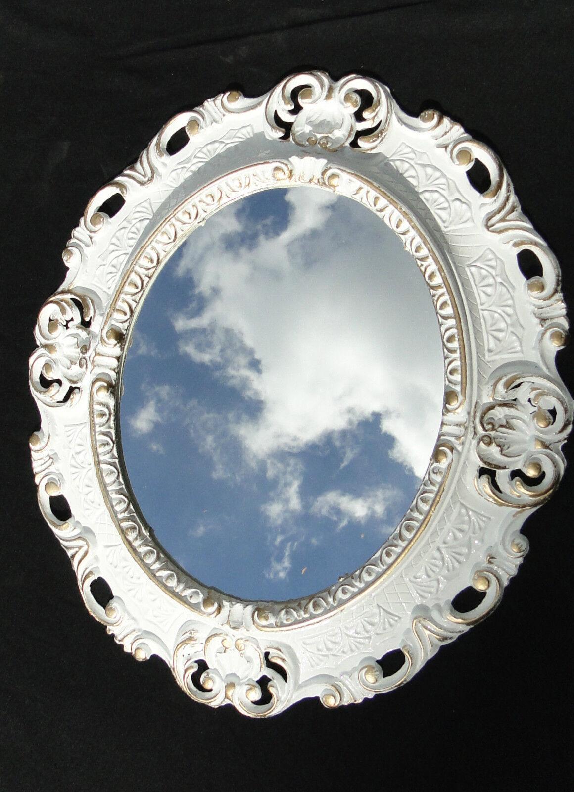 Wandspiegel shabby wei silber oval landhaus antik badspiegel barock 45x37 neu ebay - Spiegel oval silber ...