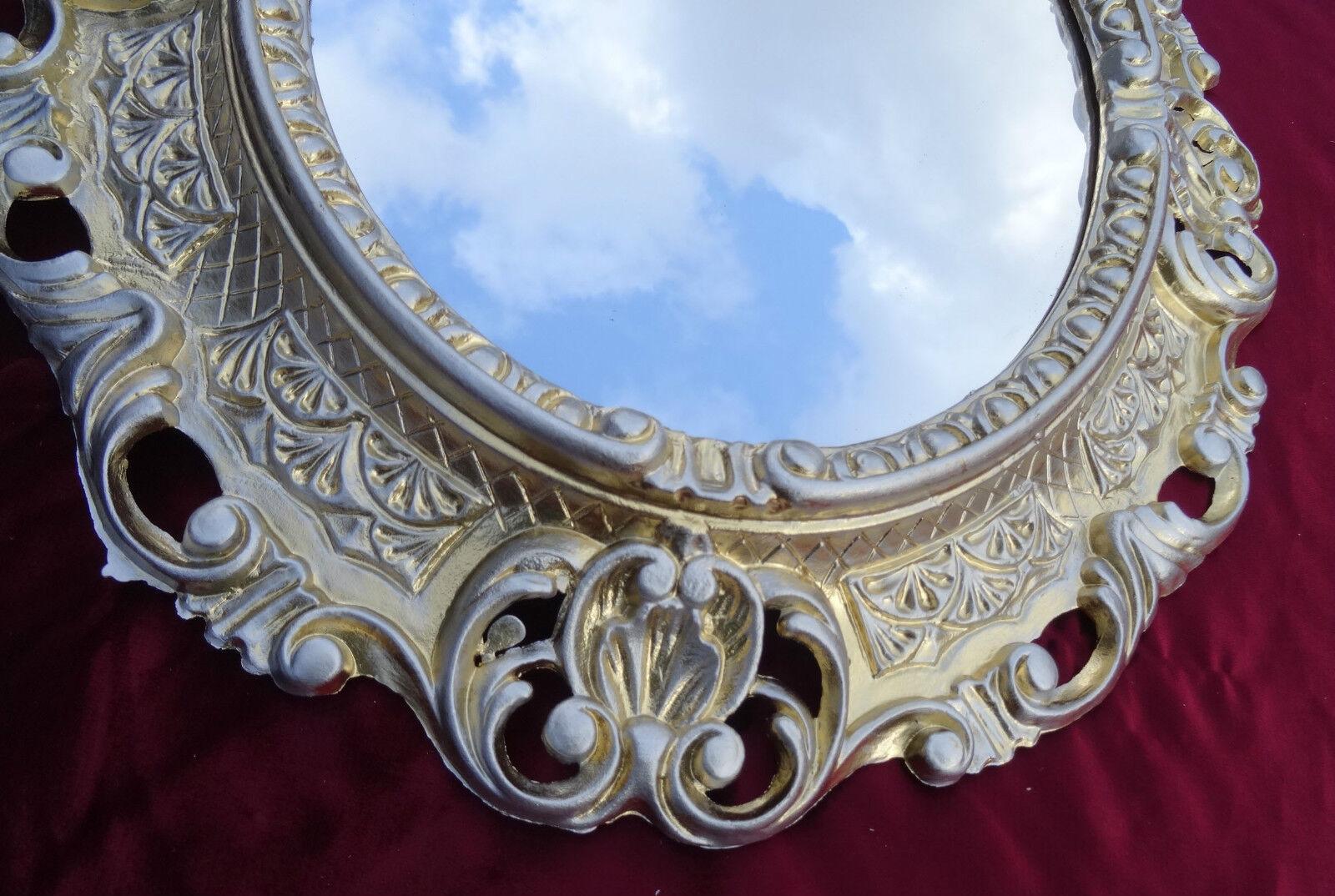 Specchio da parete specchio bianco argento ovale 45x38 - Specchio ovale vintage ...