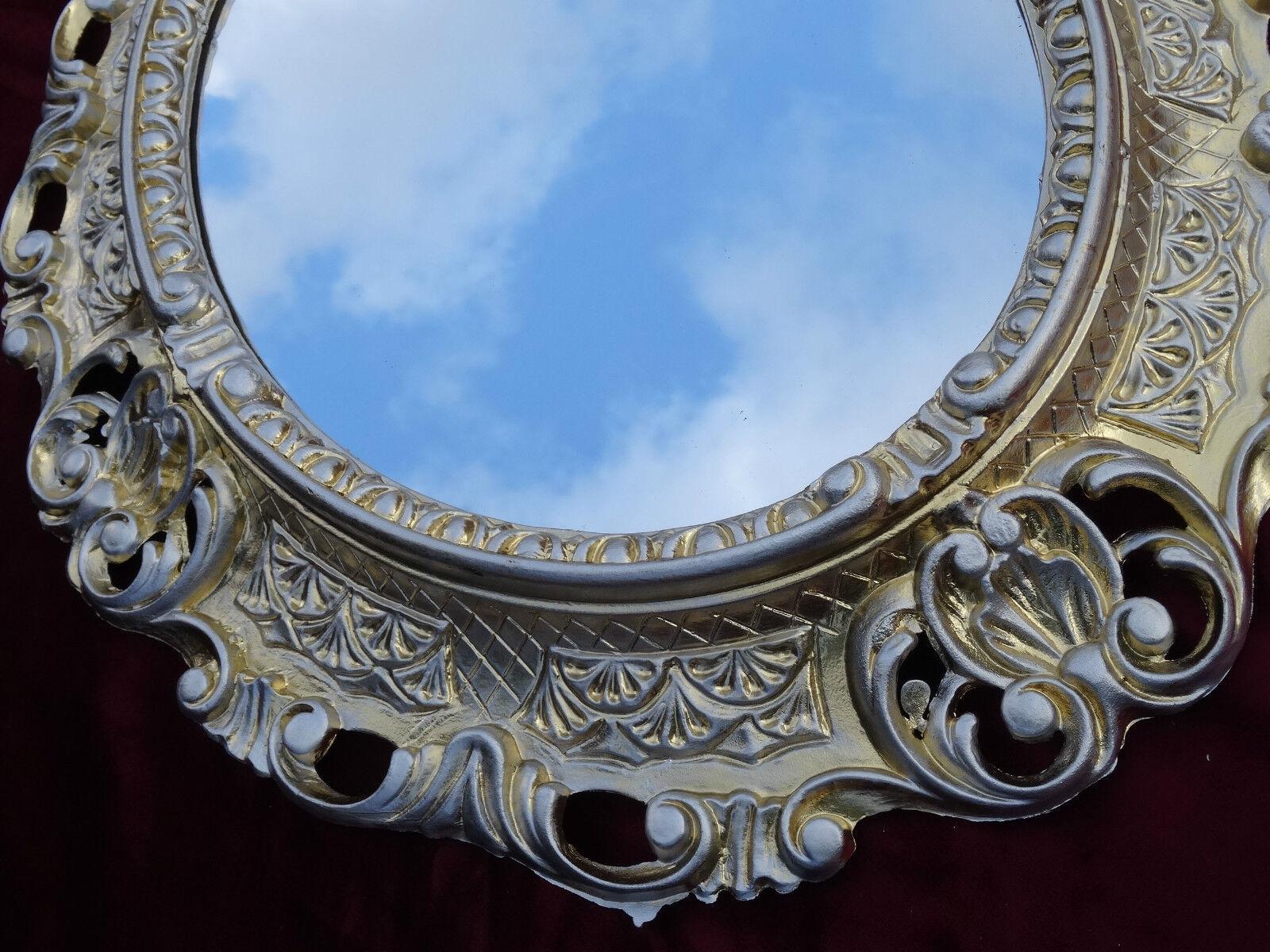 Specchio da parete specchio bianco argento ovale 45x38 - Specchio antico ovale ...