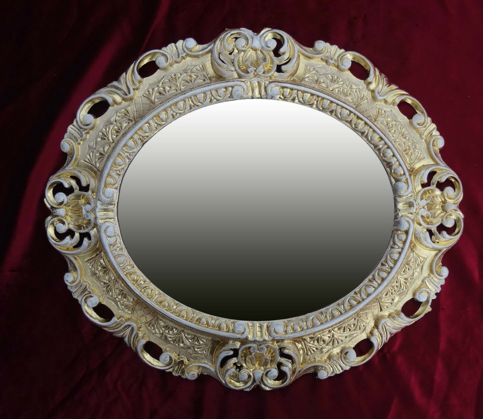 wallmirror mirror gold white oval 45x38 cm baroque antique vintage repro 345 3 ebay. Black Bedroom Furniture Sets. Home Design Ideas