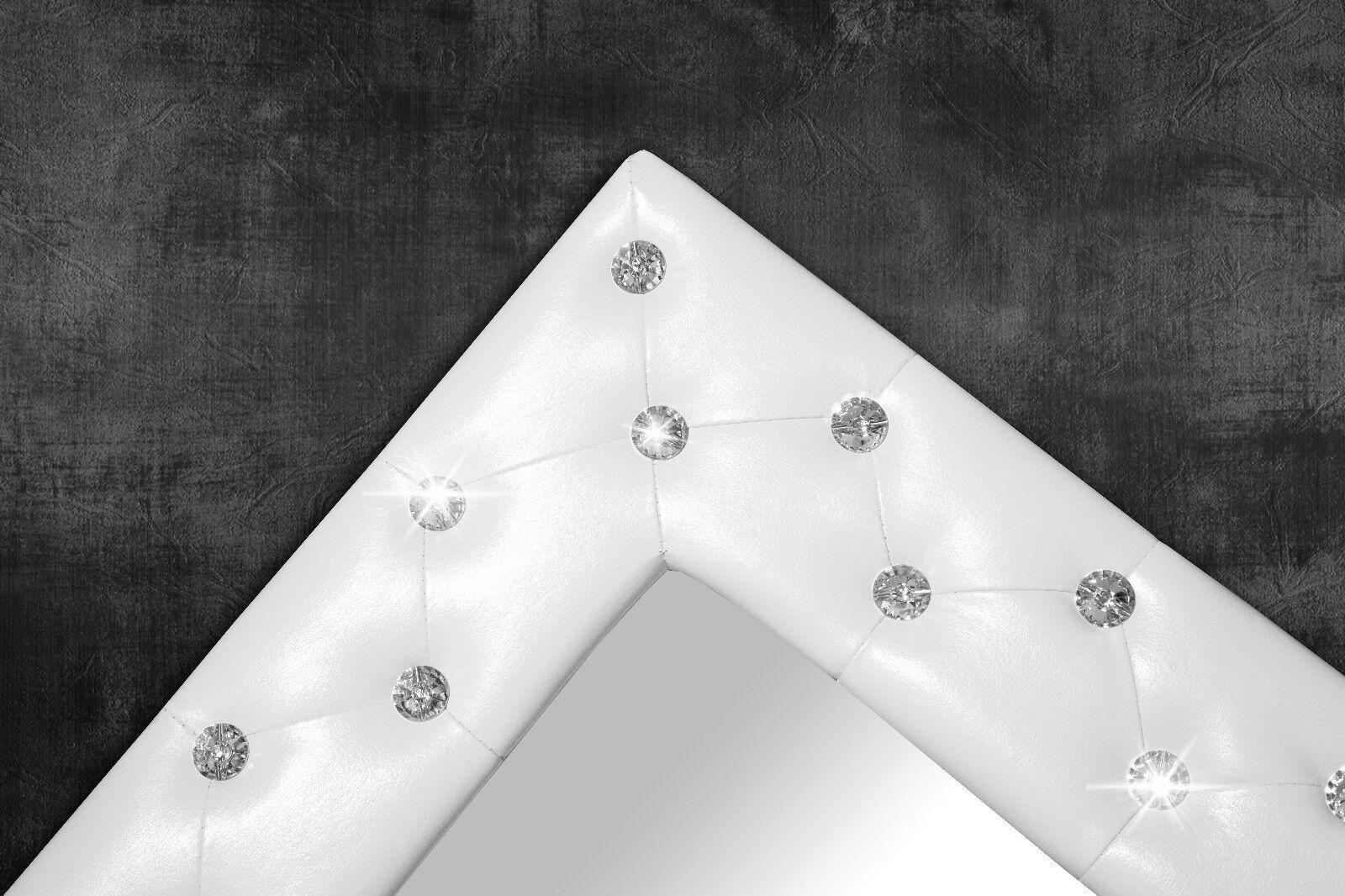 Specchio da parete bianco con bottoni strass 80x60 cm for Spiegel 80 x 180
