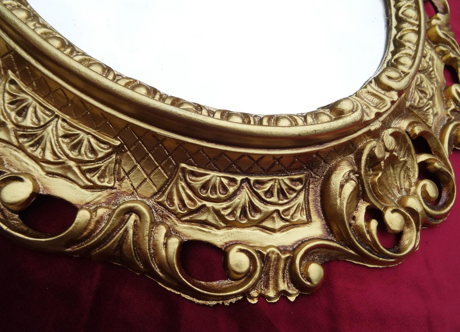 wandspiegel spiegel barock antik 345 w gold 45x38 oval badspiegel 2 ebay. Black Bedroom Furniture Sets. Home Design Ideas