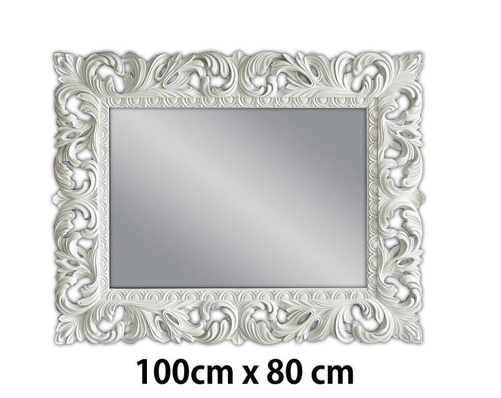 Specchio muro bianco antico barocco repro shabby chic for Cornici per quadri shabby chic