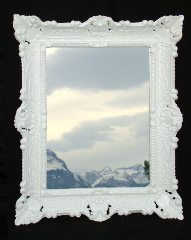 spiegel antik wandspiegel wei barockspiegel rechteckig 57x47 repro neu ebay. Black Bedroom Furniture Sets. Home Design Ideas