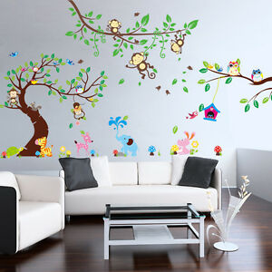 wandsticker wandtattoo aufkleber tiere wandaufkleber affe baby baum kinder xxl8 ebay. Black Bedroom Furniture Sets. Home Design Ideas
