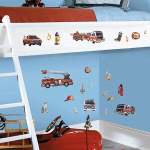Wandsticker-Wandtattoo-Feuerwehr-Kinderzimmer-Wandaufkleber-Deko-Auto ...