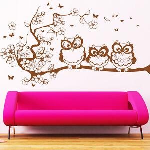 wandtattoo 3 eulen auf ast ab 22 90 fr hling kirschblume schmetterlinge 10268 ebay. Black Bedroom Furniture Sets. Home Design Ideas