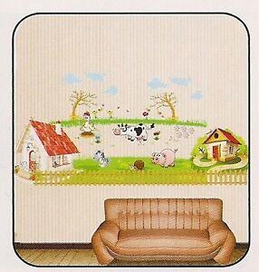 wandtattoo aufkleber bild sticker f r kinder babyzimmer bauernhof kuh schwein. Black Bedroom Furniture Sets. Home Design Ideas