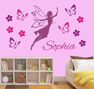 wandtattoo aufkleber kinderzimmer wunschname elfe fee blumen schmetterlinge wu93 ebay. Black Bedroom Furniture Sets. Home Design Ideas