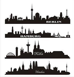 wandtattoo aufkleber skyline 80 cm m nchen berlin k ln oder hamburg ebay. Black Bedroom Furniture Sets. Home Design Ideas