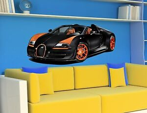 wandtattoo bugatti veyron car sport racing cars aufkleber wandaufkleber sticker ebay. Black Bedroom Furniture Sets. Home Design Ideas
