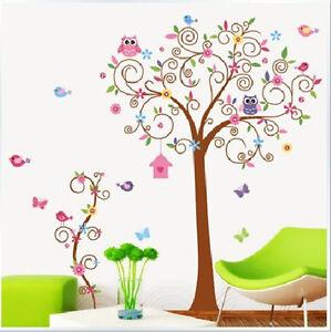 wandtattoo eule baum wandsticker aufkleber kinderzimmer deko cartoon blume v gel ebay. Black Bedroom Furniture Sets. Home Design Ideas