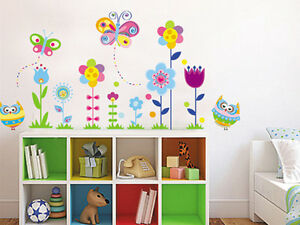 wandtattoo eule schmetterling blume wandsticker aufkleber kinderzimmer deko ebay. Black Bedroom Furniture Sets. Home Design Ideas