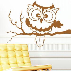10044 wandtattoo eulen eule eulchen auf einem ast strigidae kinderzimmer ebay. Black Bedroom Furniture Sets. Home Design Ideas