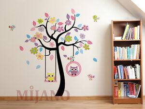 wandtattoo eulen auf schaukel wandsticker wandaufkleber kinderzimmer deko baum ebay. Black Bedroom Furniture Sets. Home Design Ideas