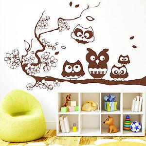 10245 wandtattoo fr hlings eule eulchen ast ab 23 wandaufkleber eule niedlich ebay. Black Bedroom Furniture Sets. Home Design Ideas