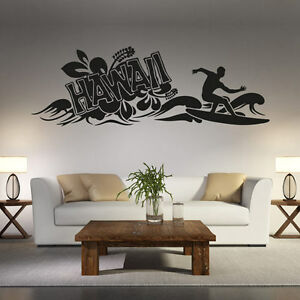 wandtattoo hawaii surfer hibiskus blume aufkleber schrift wall wand tattoo 2075 ebay. Black Bedroom Furniture Sets. Home Design Ideas