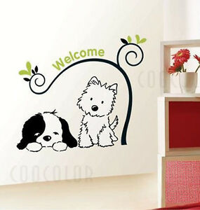 wandtattoo hund welcome willkommen kinderzimmer baum. Black Bedroom Furniture Sets. Home Design Ideas