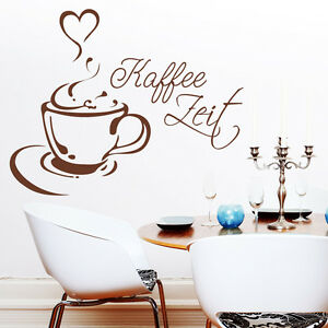 wandtattoo kaffee zeit tasse herz schriftzug k che aufkleber cafe wandbild10096 ebay. Black Bedroom Furniture Sets. Home Design Ideas