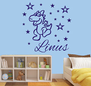 wandtattoo kinderzimmer name wunschname dino sterne junge aufkleber kind wu096 ebay. Black Bedroom Furniture Sets. Home Design Ideas