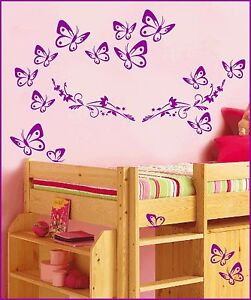 wandtattoo kinderzimmer schmetterlinge auf blumenranke blume wohnzimmer 1 1054 ebay. Black Bedroom Furniture Sets. Home Design Ideas