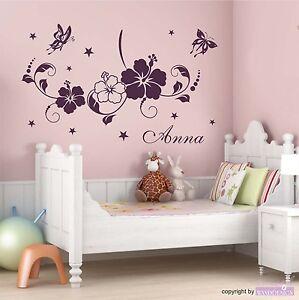 Wand Tatto on Wandtattoo Kinderzimmer Mit Namen Blumen Schmetterling Wohnzimmer