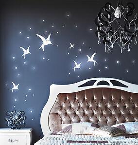 wandtattoo kolibris punkte fluoreszierend kolibri v gel vogel sterne stern m886 ebay. Black Bedroom Furniture Sets. Home Design Ideas