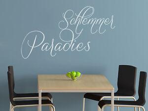 wandtattoo k chen spr che k chensticker k chenaufkleber schlemmer paradies ebay. Black Bedroom Furniture Sets. Home Design Ideas