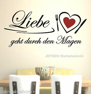 wandtattoo liebe geht durch den magen 70x30cm z149. Black Bedroom Furniture Sets. Home Design Ideas