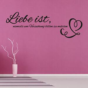 wandtattoo liebe ist spruch love zitat aufkleber wall wand tattoo 2028 ebay. Black Bedroom Furniture Sets. Home Design Ideas
