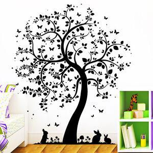 wandtattoo loft baum hasen schmetterlinge wald tierwelt eule hase 2 m hoch ebay. Black Bedroom Furniture Sets. Home Design Ideas