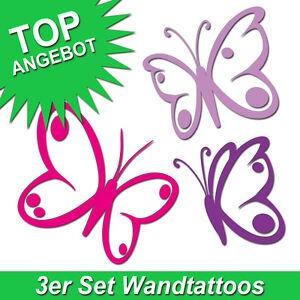 Wandtattoo-Schmetterlinge-Wandaufkleber-Butterfly-Wandsticker-3-Stueck-im-Set