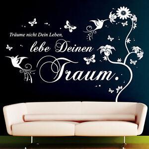 wandtattoo tr ume nicht dein leben lebe deinen traum zitat weisheit 10240 ebay. Black Bedroom Furniture Sets. Home Design Ideas