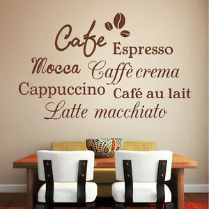 wandtattoo sieben kaffee sorten schriftzug espresso cafe cappuccino k che 10314 ebay. Black Bedroom Furniture Sets. Home Design Ideas