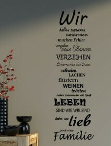 wandtattoo spruch familie family wir haus liebe spr che spruch b387 ebay. Black Bedroom Furniture Sets. Home Design Ideas