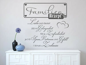 wandtattoo spr che wandsticker familien rezept 1 aufkleber wohnzimmer flur ebay. Black Bedroom Furniture Sets. Home Design Ideas