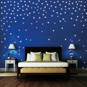 wandtattoo sterne 160st ck leuchten fluoreszierend sternenhimmel space licht ebay. Black Bedroom Furniture Sets. Home Design Ideas