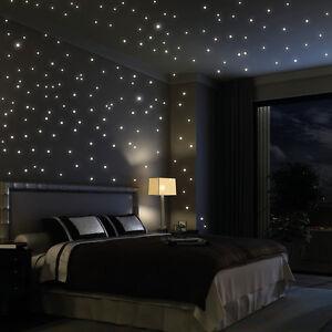 Wandtattoo-Sterne-Punkte-203Stueck-leuchten-fluoreszierend-Sternenhimmel-Space