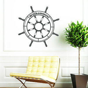 wandtattoo steuerrad willkommen ab 19 90 lenkrad ruder schiff 10371 ebay. Black Bedroom Furniture Sets. Home Design Ideas