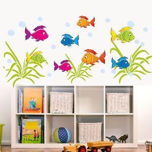 wandtattoo unterwasserwelt fische meer wandsticker kinderzimmer ebay. Black Bedroom Furniture Sets. Home Design Ideas