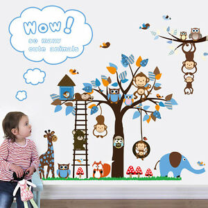 Wandtattoo Wald Kinderzimmer Spielzimmer Wandbild Tiere Neu Zoo Affen ...