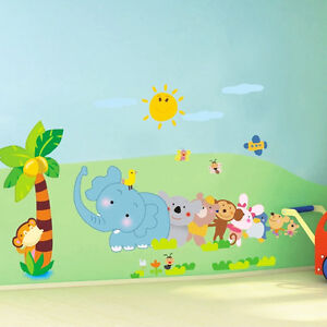 Wandtattoo Wald Sticker Wandbild Kinderzimmer Lustige Tiere Funny Animals