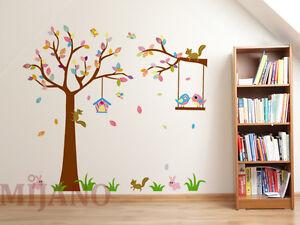 ... Waldtiere Wandsticker Aufkleber Kinderzimmer Deko Eichhörnchen Hase