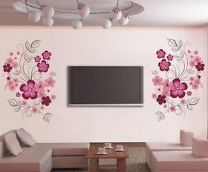 wandtattoo wandaufkleber blumenranke blumen wandsticker wohnzimmer schlafzimmer ebay. Black Bedroom Furniture Sets. Home Design Ideas