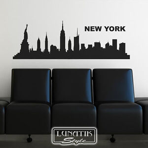 wandtattoo wandaufkleber skyline stadt new york wt09 ebay. Black Bedroom Furniture Sets. Home Design Ideas