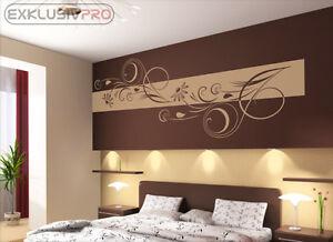 wandtattoo wandbanner adela wandaufkleber wohnzimmer schlafzimmer blumen floral ebay. Black Bedroom Furniture Sets. Home Design Ideas