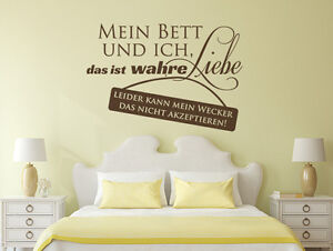 wandtattoo wandsticker schlafzimmer spr che mein bett und ich 1 wand tattoos ebay. Black Bedroom Furniture Sets. Home Design Ideas