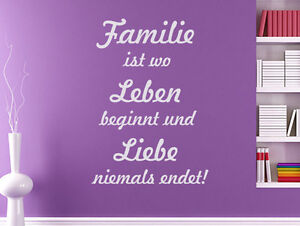 wandtattoo wandsticker spr che familie ist wo das leben beginnt und liebe flur ebay. Black Bedroom Furniture Sets. Home Design Ideas